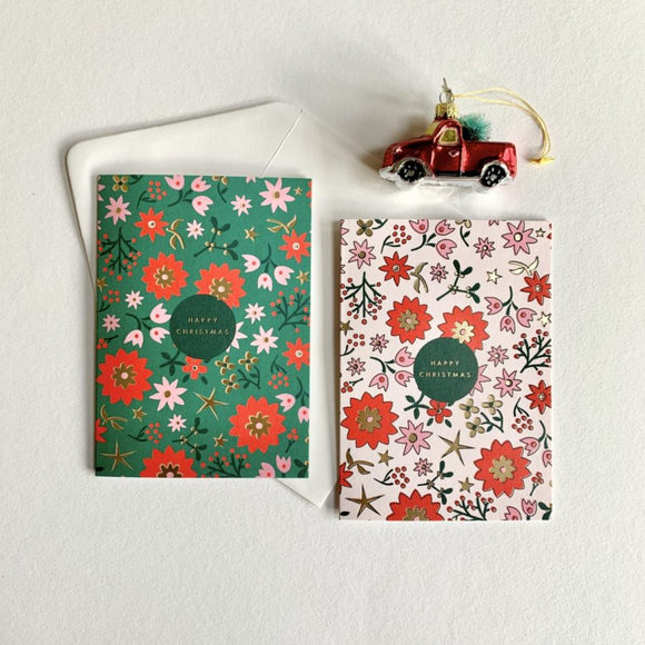 Retro Scandi Floral Charity Christmas Card Packs