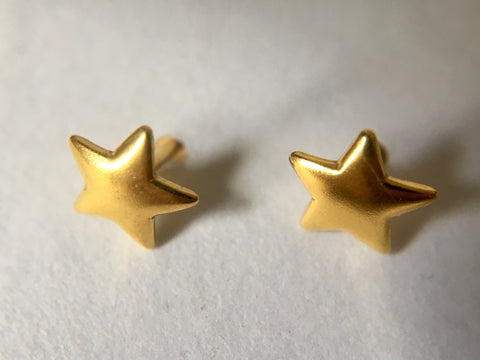 Star Shape Earstuds 6mm with Scrolls Gold Plated Vermeil Sterling Silver (Extra Durable)