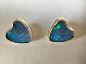 Heart Shape 6mm Sterling Silver and Manmade Blue Opal Earstuds
