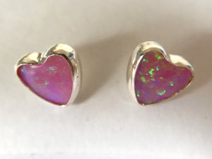 Heart Shape 6mm Sterling Silver and Manmade Pink Opal Earstuds