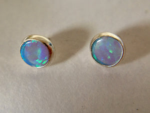 Round 4mm Sterling Silver and Manmade Blue Opal Earstud Earrings