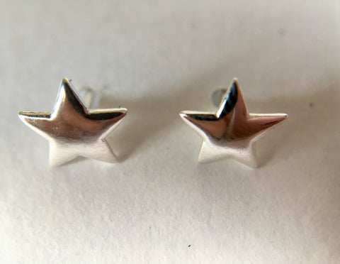 Star Shape Earstuds 6mm with Scrolls Sterling Silver (STS)