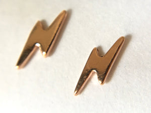 Lightning Bolt Earstuds 10x3mm with Scrolls Rose Gold Plated Vermeil Sterling Silver (Extra Durable)
