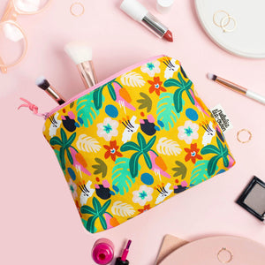 Natalie Lea Owen Makeup Bag in Yellow Jungle Floral Pattern