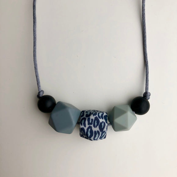 5 Bead Blue Leopard Teething Necklace by Little Gnashers