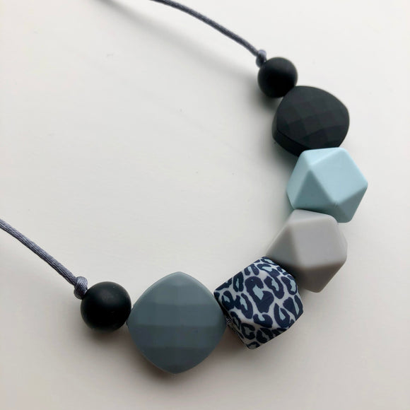 7 Bead Blue Leopard Teething Necklace by Little Gnashers