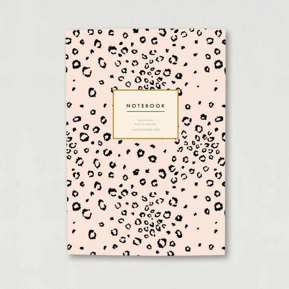 A5 Lined Notebook Pink Leopard Print