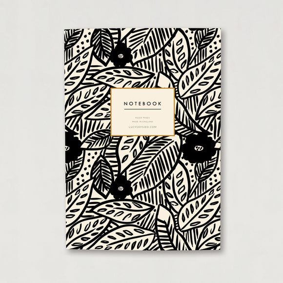 A5 Lined Notebook Tropical Leaf and Flower