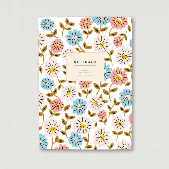 A5 Lined Notebook Flower Print