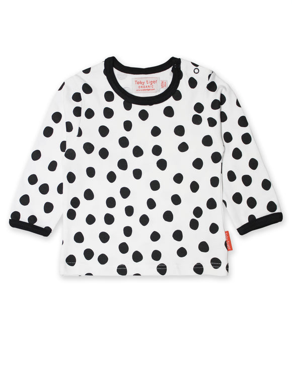 Toby Tiger Organic Black Dot Print T-Shirt