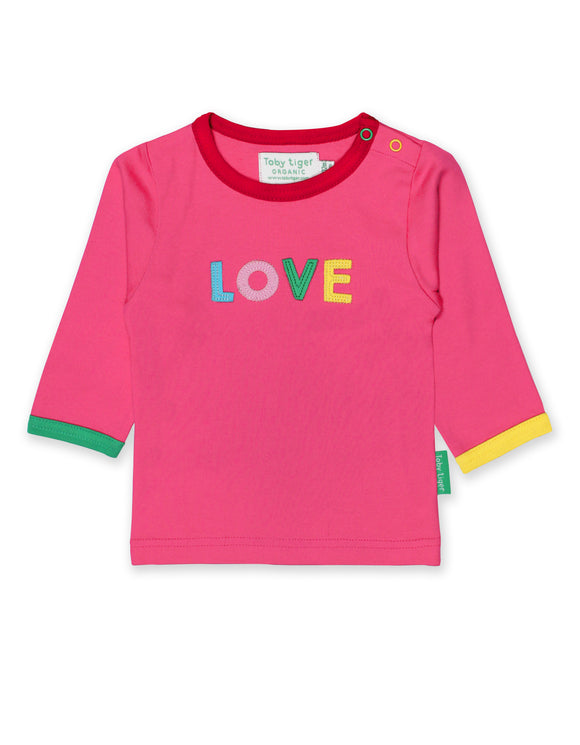 Toby Tiger Organic Love Applique T-Shirt