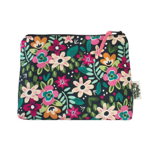 Natalie Lea Owen Makeup Bag in Black Retro Floral Pattern