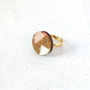 Natalie Lea Owen Matilda Ring in Gold Glitter