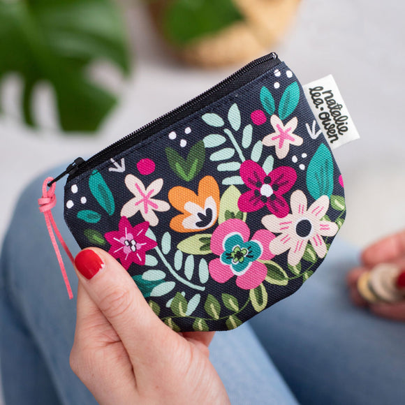 Natalie Lea Owen Coin Purse in Black Retro Floral Pattern