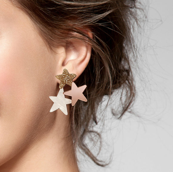 Natalie Lea Owen Statement Star Earrings in Rose Gold