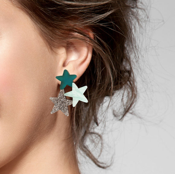 Natalie Lea Owen Statement Star Earrings in Teal