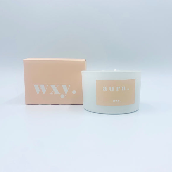 WXY 3oz Candle - White Woods & Amber Down - Aura