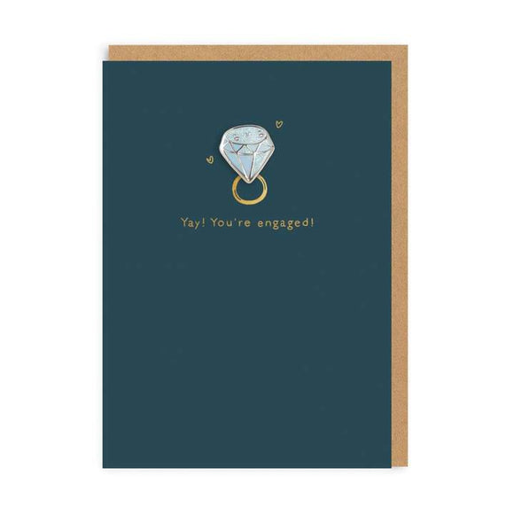 Yay! You're engaged diamond Enamel Pin Greeting Card