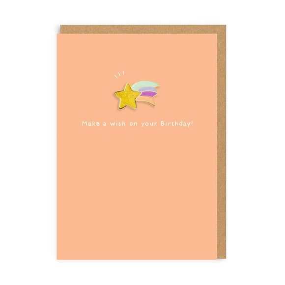 Make a wish on your birthday Enamel Pin Greeting Card