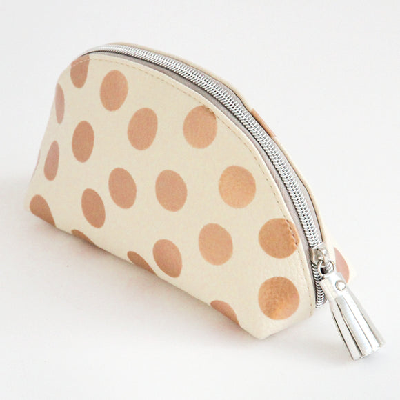 Metallic Spot Halfmoon Cosmetic Bag