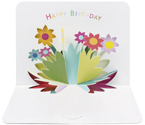 3d Happy Birthday Flowers Card