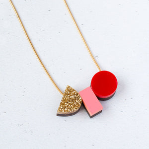 Natalie Lea Owen Emma Necklace in Red and Pink
