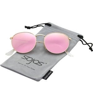 Small Round Polarized Sunglasses Mirrored Lens Unisex Glasses SJ1014