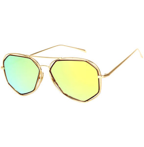 Aviator Sunglasses Metal Frame Flat Mirrored Lens SJ1004