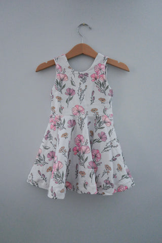 Gray Floral twirl dress