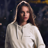I AM enough mantra hoodie sweatshirt in white