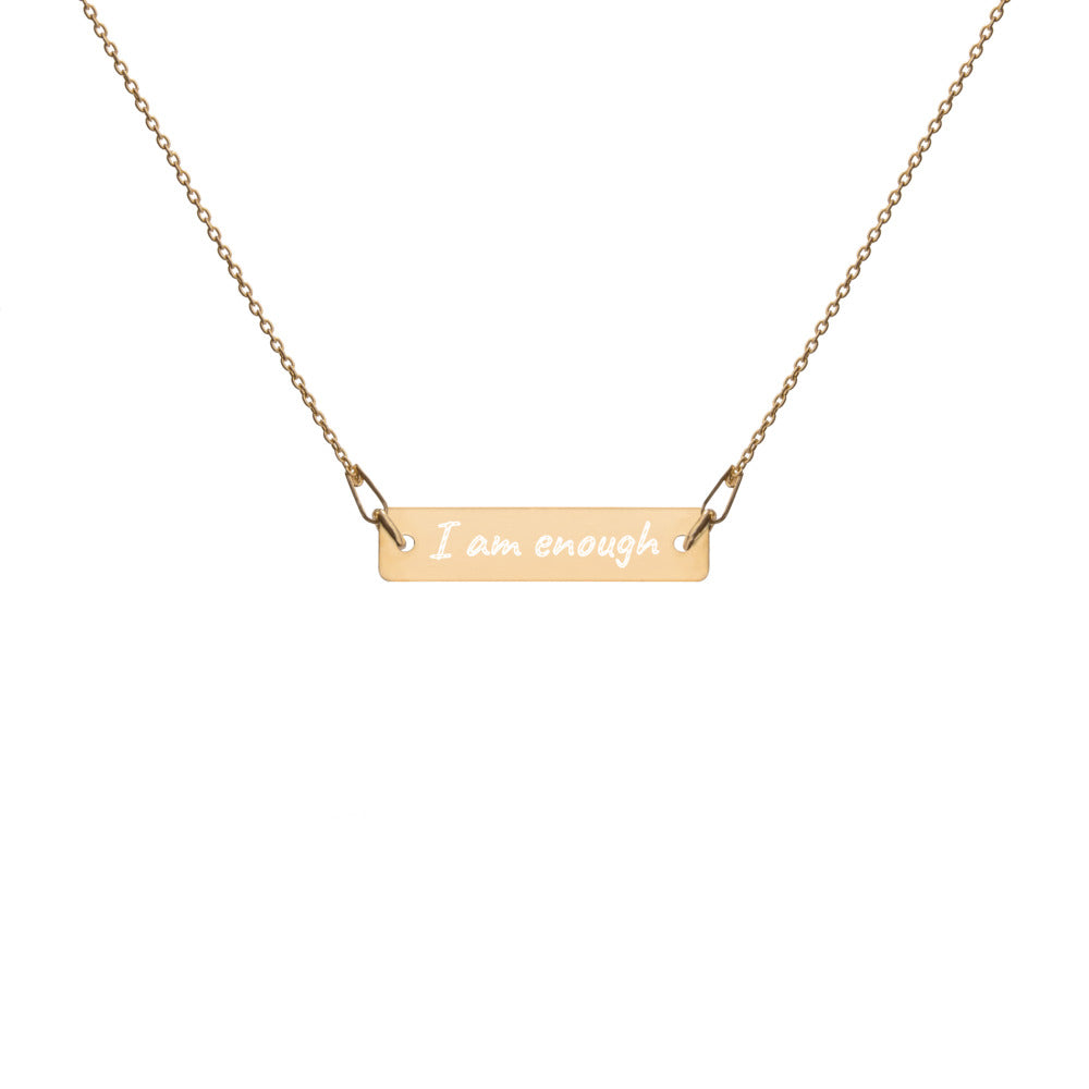 I am enough engraved mantra necklace in gold