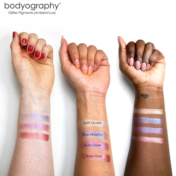 Ambient Lux Glitter Pigment Arm Swatches - Bodyography® Professional Cosmetics