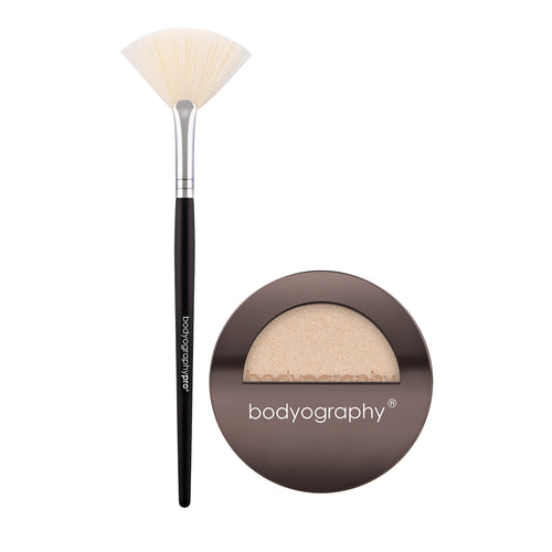 Bodyography Flawless Highlight Duo - Fan Brush + From Within Pressed Highlighter