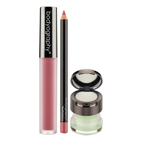 Bodyography Perfect Pout Set, Au Naturel + Heatherberry - Lip Lava Liquid Lipstick in Au Naturel, Lip Pencil in Heatherberry, Exfoliating Lip Duo