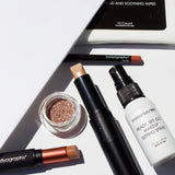Bodyography Beauty Editor Go-To Collection: From top to bottom - 10 count Cleansing and Soothing Wipes, Lip Pencil in Pouty, Glitter Pigment in Celestial, Inner Glow Stick, Mini Ready Set Go Makeup Setting Spray, Fabric Texture Lipstick in Chiffon