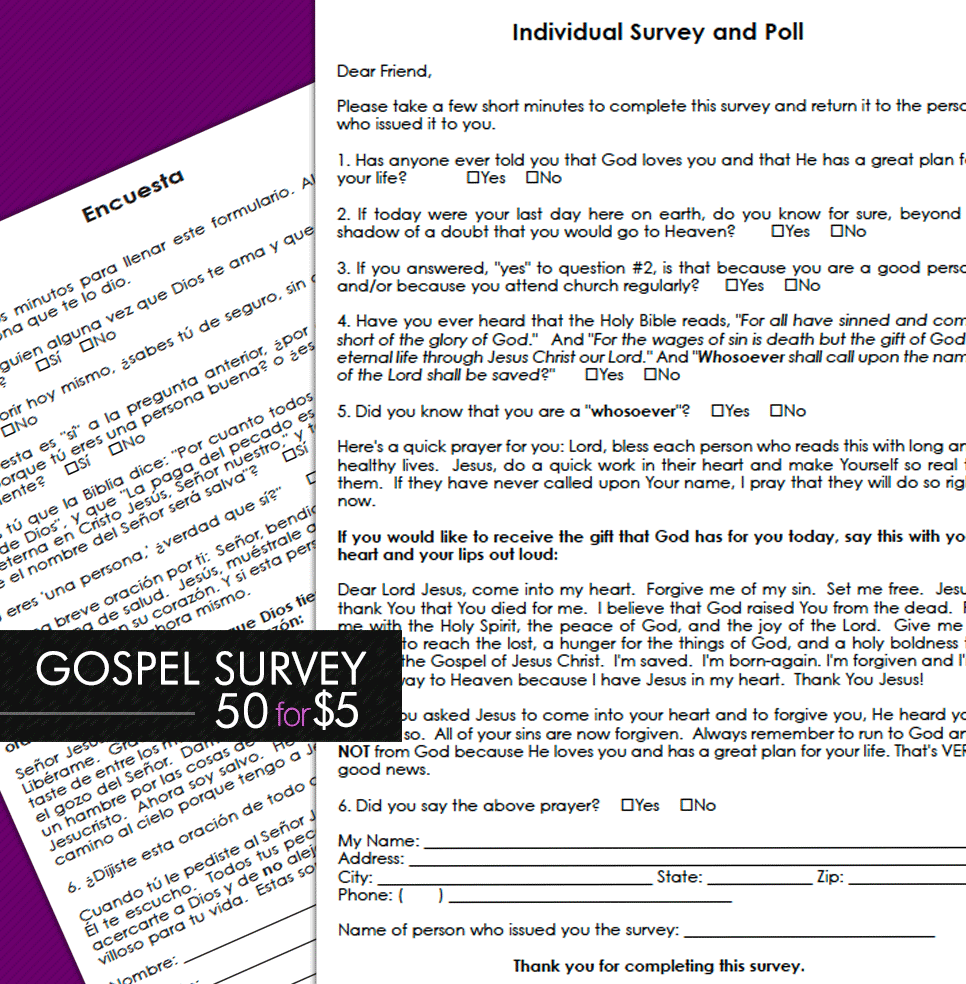 Gospel Soulwinning Survey - 50 Bilingual