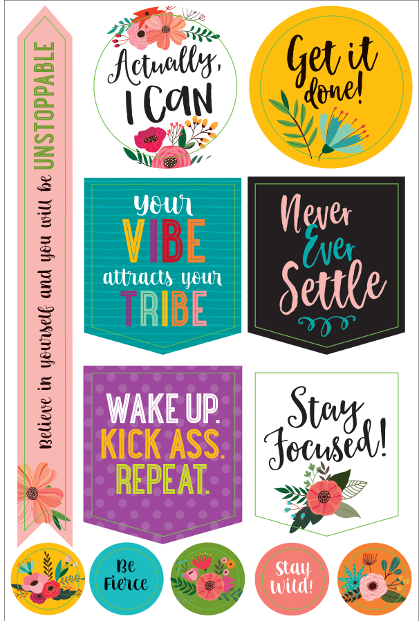 Essentials, Wake Up, Kick Ass, Repeat. Planner Stickers