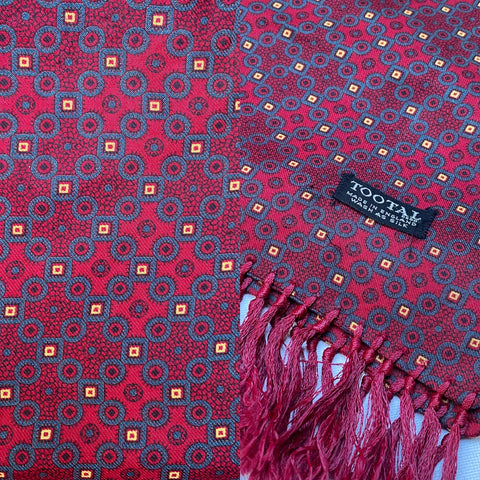 Vintage 50s era Tootal scarf in claret with yellow square pattern