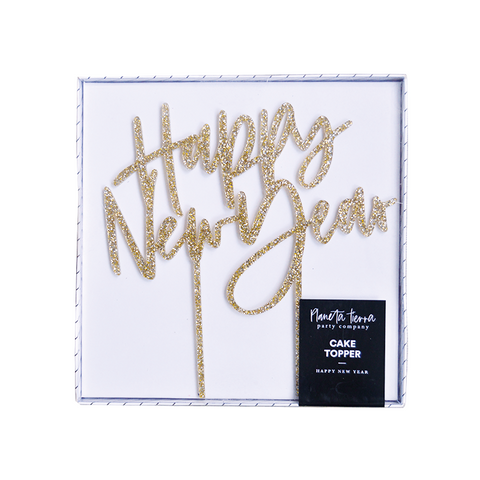 "Cake topper gold glitter ""Happy New Year"""