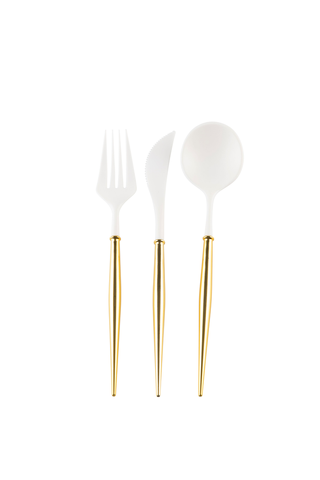 WHITE AND GOLD BELLA 24PC ASSORTED FLATWARE SET