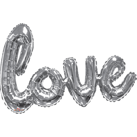 Silver Love Script Super Shape 36""