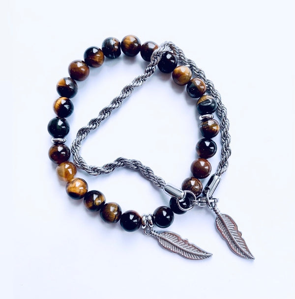 Tigers Eye & Rope Feather Bracelet (silver)