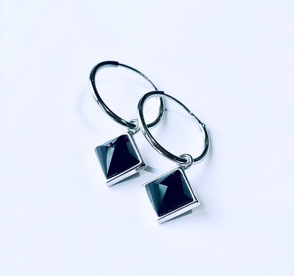 Black Obsidian AURA Earrings (silver)