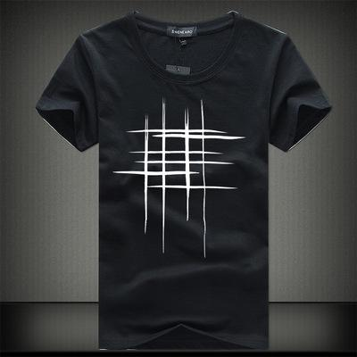 2018 Simple creative design line cross Print cotton T Shirts Men's