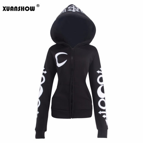 Women Hoodies Punk Moon Letters Printed Sweatshirts