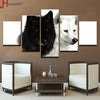 Image of Canvas HD Prints Home Decor 5 Pieces Wolf Couple
