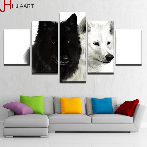 Canvas HD Prints Home Decor 5 Pieces Wolf Couple