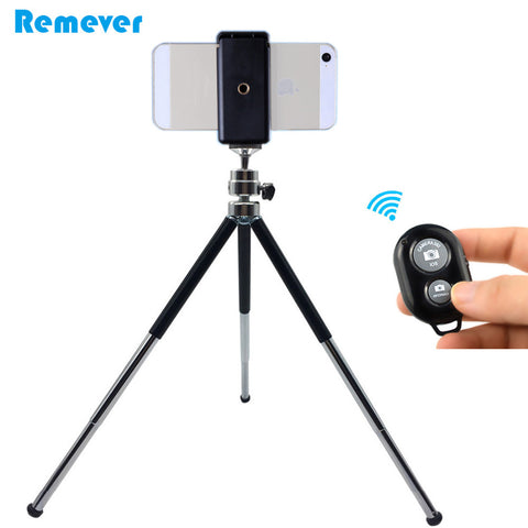 Metal Mini Tripod With Phone Holder Bluetooth Remote For Apple and Android Phones
