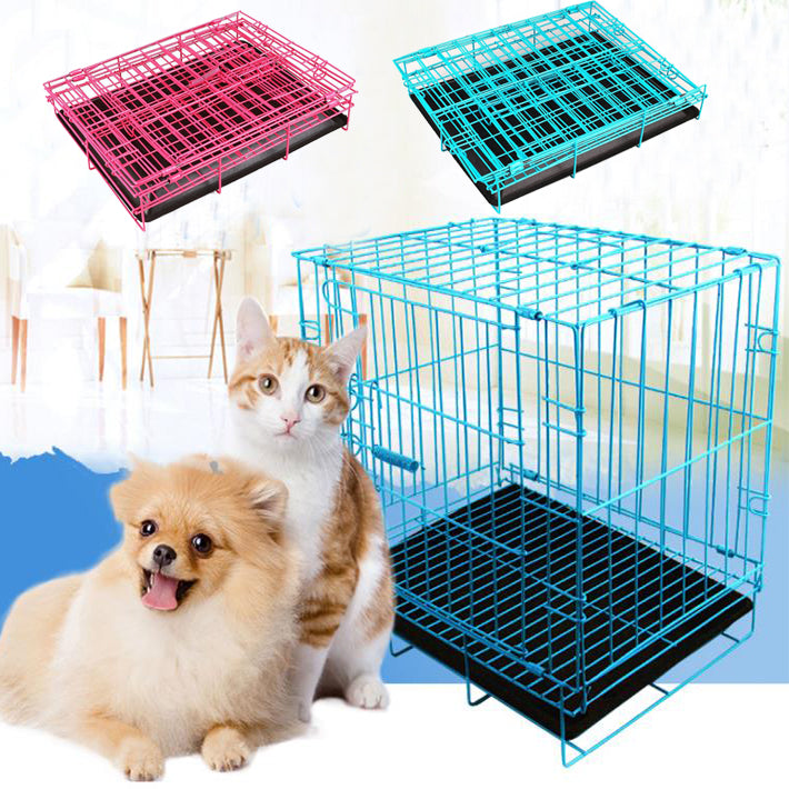 2 Door Pet Dog Metal Collapsible Wire Cage Crate Kennel with Tray ...