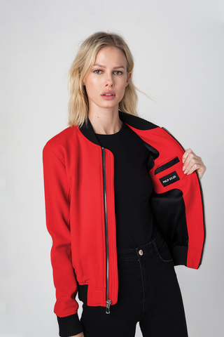 Italian red French crepe, Jacket, handmade in Los Angeles, Red